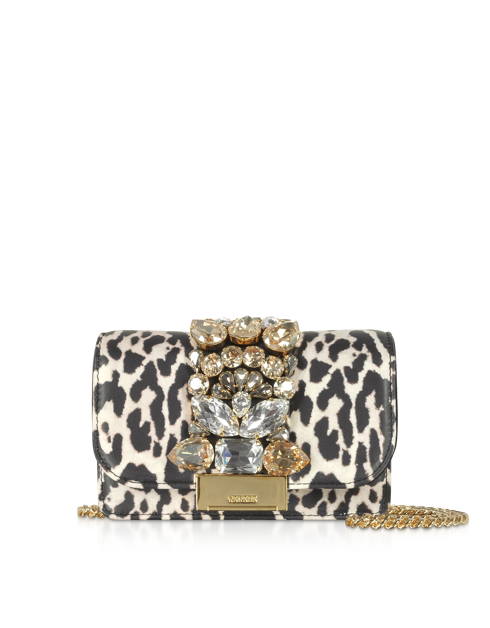 Mini Cliky White Leopard Print Leather Clutch
