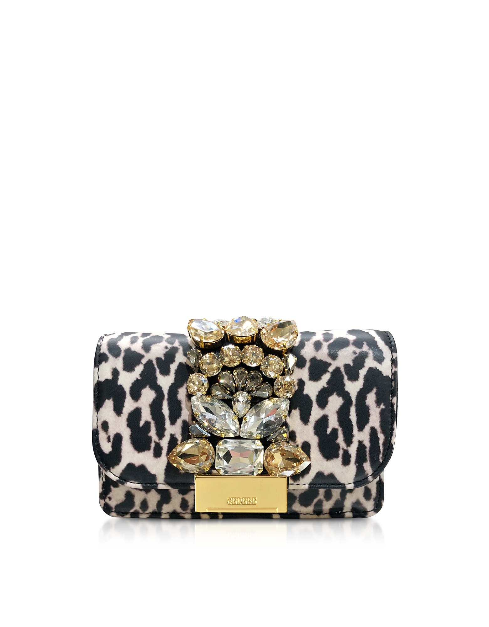 Mini Cliky White Leopard Print Leather Clutch