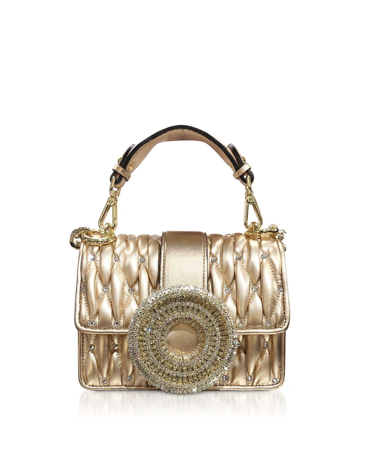 Gio Small Rose Gold Leather & Crystal Handbag