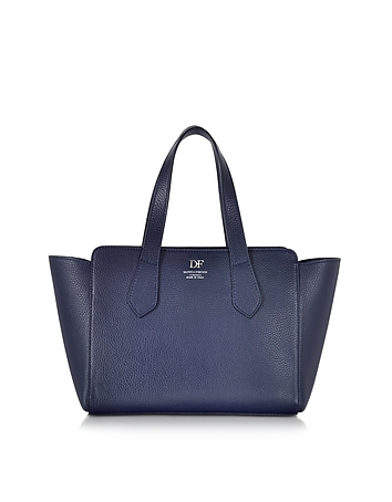 Navy Blue Leather Tote