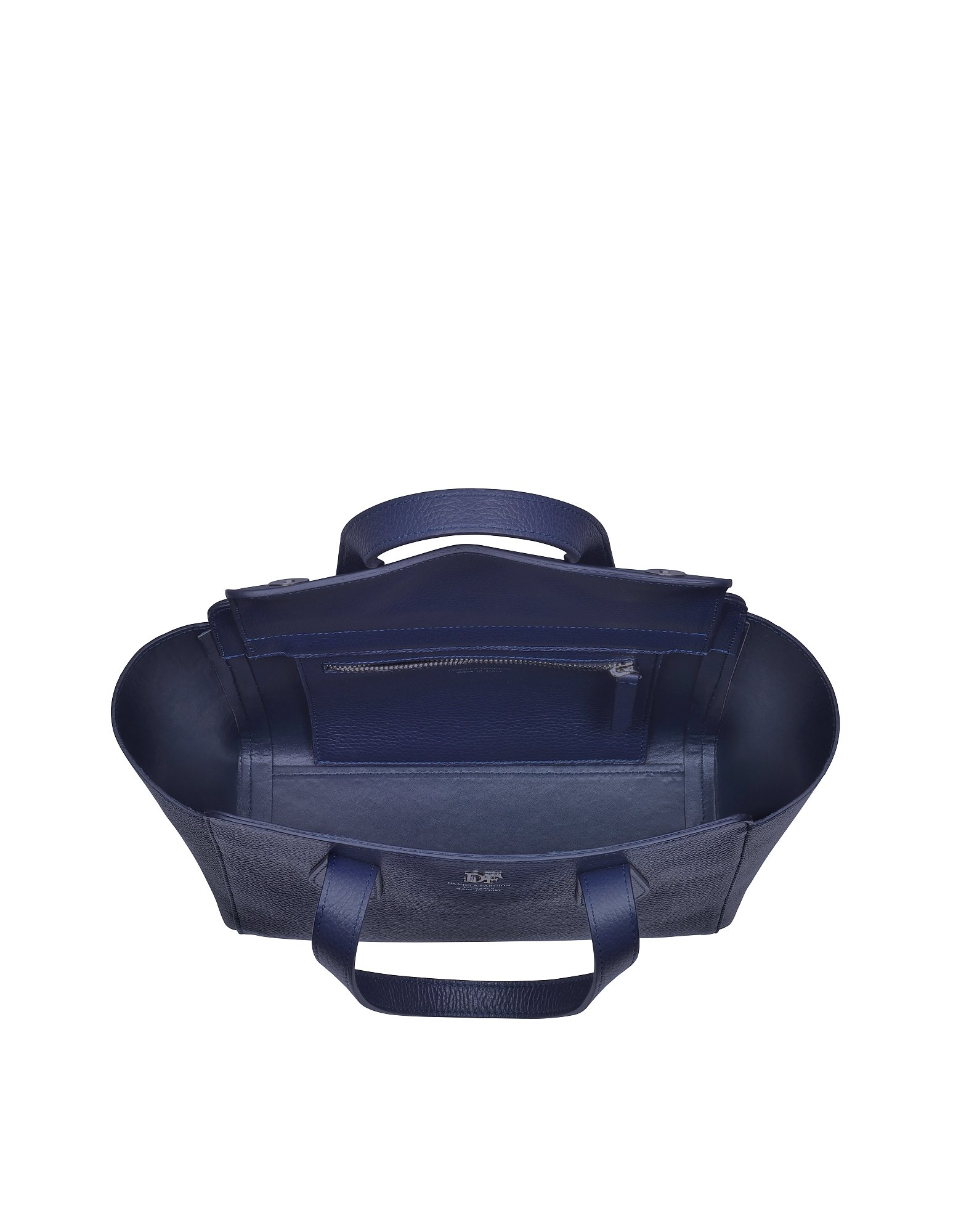 Navy Blue Leather Tote от Forzieri.com INT