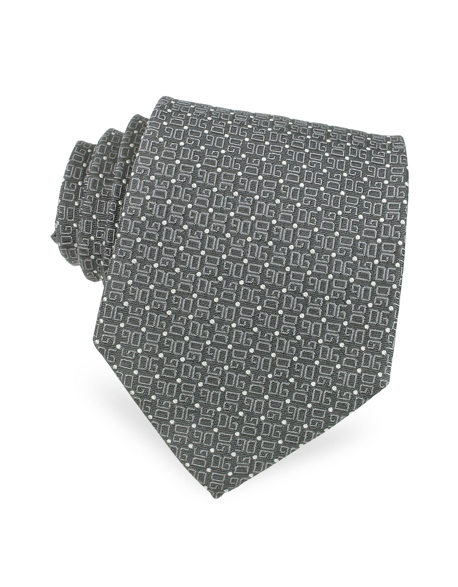 Dolce & Gabbana  All Over Mini Logo & Dots Woven Silk Tie