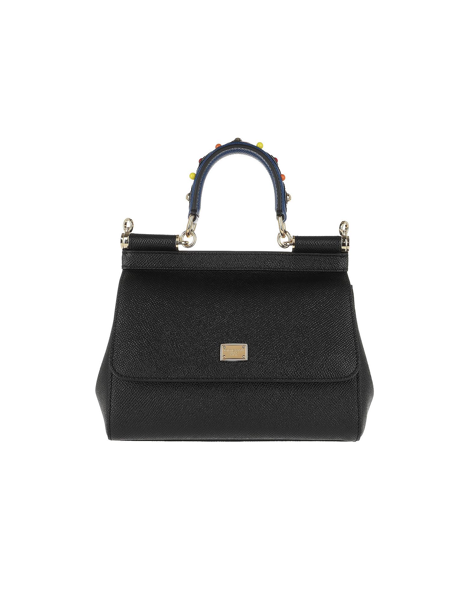 Dolce & Gabbana Handbags, Sicily Mini St. Dauphine Black