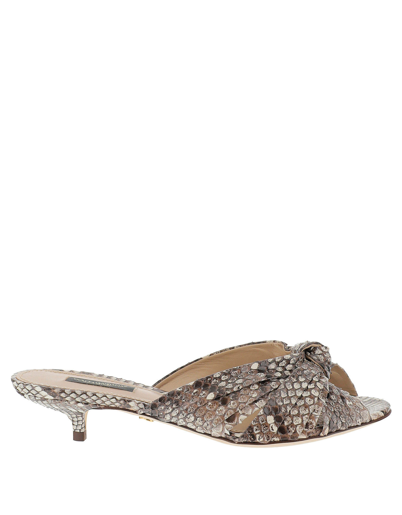 Dolce & Gabbana Designer Shoes, Python Printed Leather Mid Heel Slide Sandals