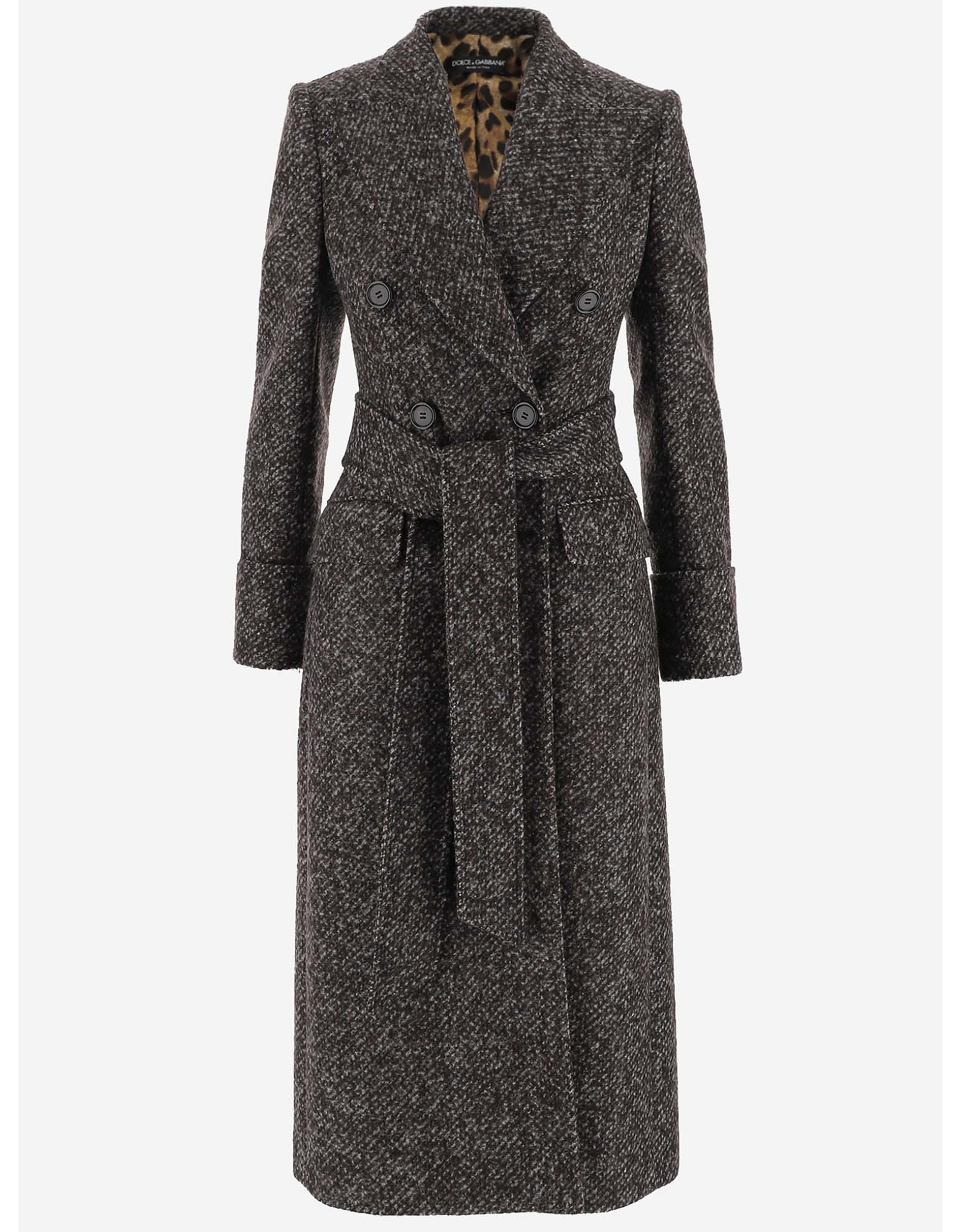 Dolce & Gabbana Designer Coats & Jackets, Double-Breasted Midi Women's Coat