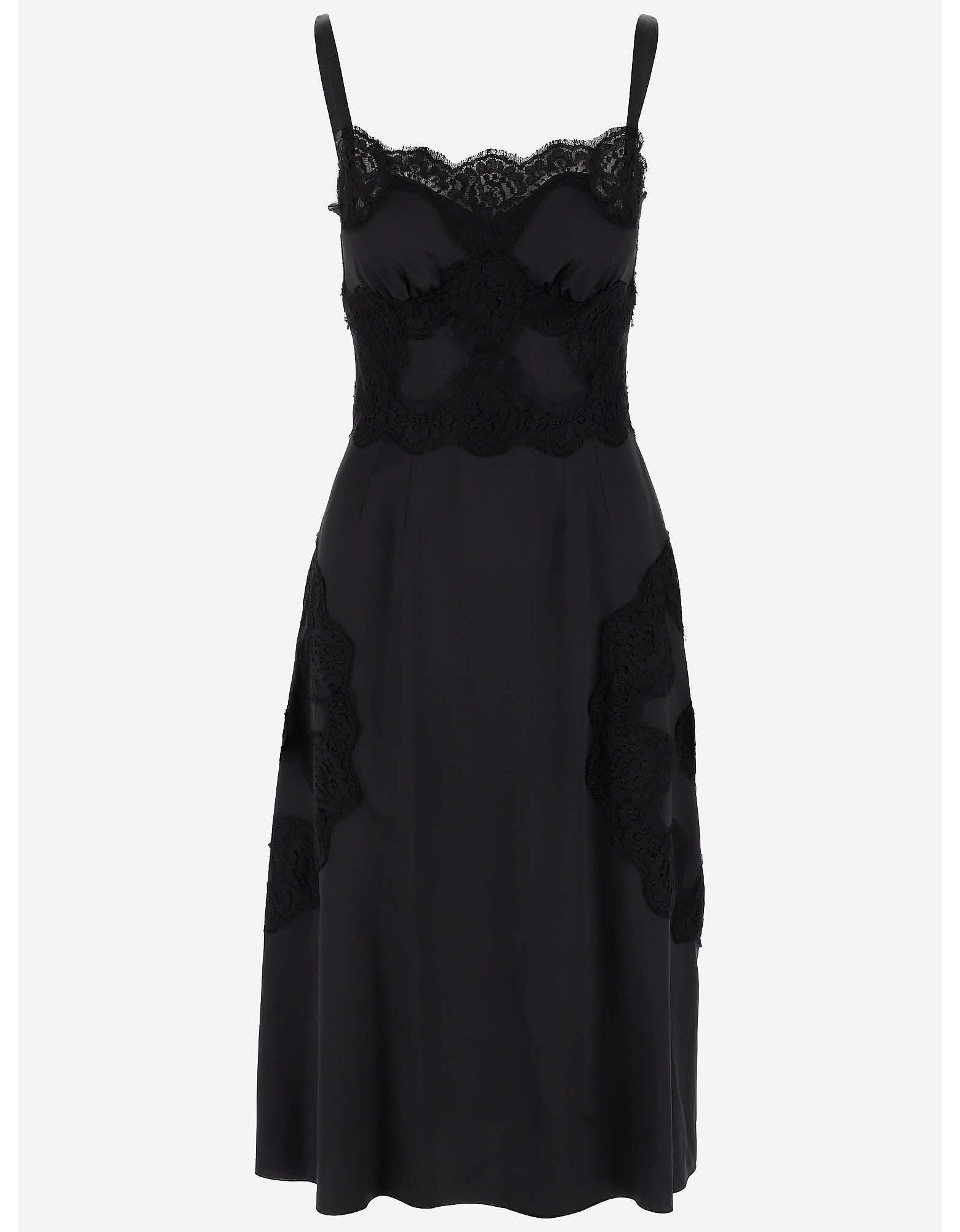 Dolce & Gabbana Designer Dresses & Jumpsuits, Lace Edge Satin Silk Women's Dress