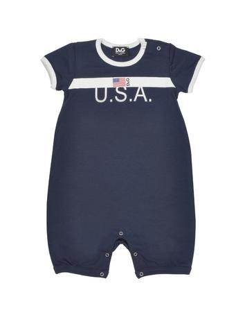 USA Flag Blue Cotton Blend Short Sleeve Romper