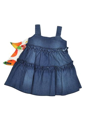 Denim Effect Cotton Dress w/Self Tie Bow