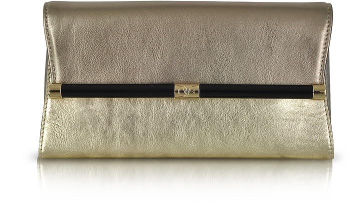 440 Envelope Foil Metallic Leather Clutch - Diane Von Furstenberg