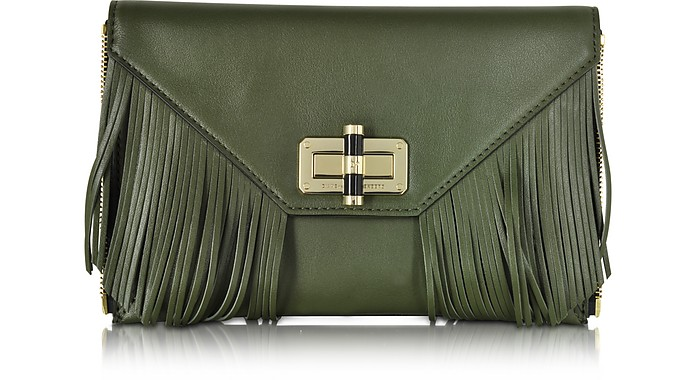 Agent Riley Fringe Zip On Leather Clutch - Diane Von Furstenberg