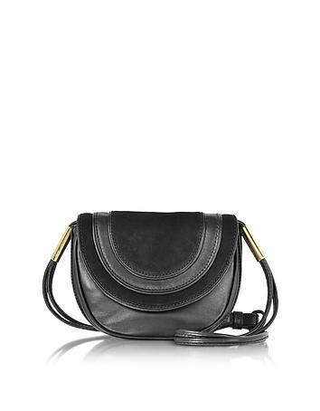 Diane von furstenberg bullseye mini borsa con tracolla in pelle nera e suede
