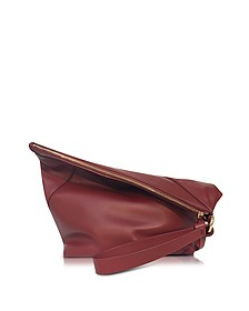 Origami Red Wine Leather Wristlet Handbag - Diane Von Furstenberg