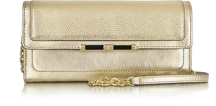 440 Currency Mini Metallic Lizard Embossed Wallet Clutch - Diane Von Furstenberg