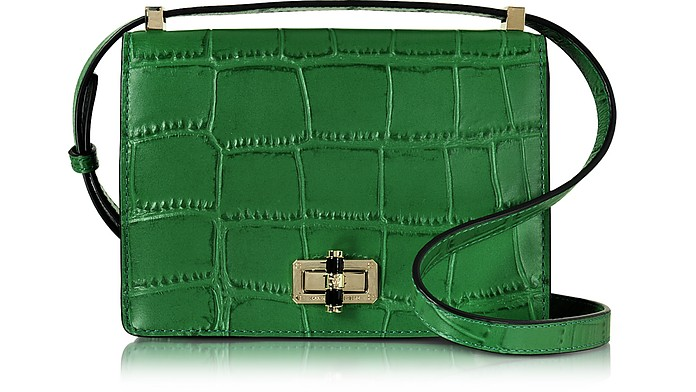 Les Crossbody Emerald Embossed Croco Leather Bag  - Diane Von Furstenberg