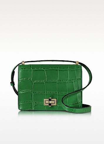Les Crossbody Emerald Embossed Croco Leather Bag  - Diane Von Furstenberg