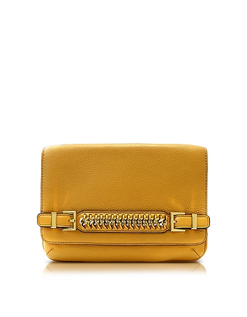 Iggy Honey Mustard Leather Clutch