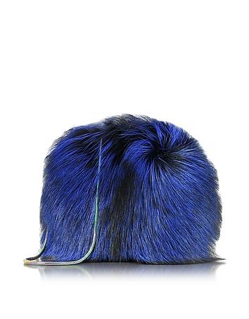 Diane Von Furstenberg Love Power - Pochette en Fourrure Bleu Cobalt