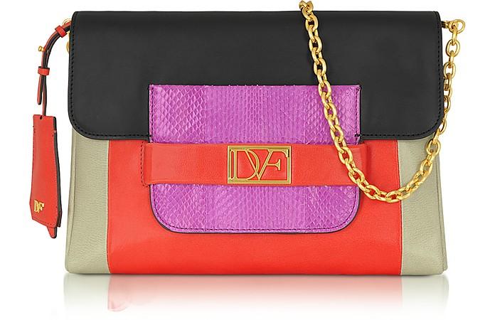 Mimosa Color Block Leather Clutch - Diane Von Furstenberg