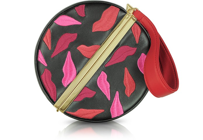 Embroidered Round Fetish Leather Clutch - Diane Von Furstenberg