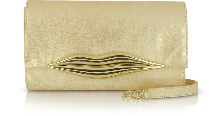 Flirty Lip Soft Metallic Leather Clutch  - Diane Von Furstenberg