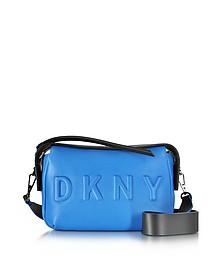 Debossed Logo Crossbody aus Leder und Neopren in cerulean/schwarz - DKNY