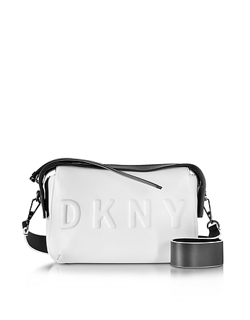 DKNY - Debossed Logo Cream/Black Leather Crossbody Bag