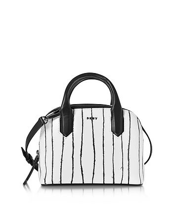Twine Stripe Leather Mini Satchel Bag