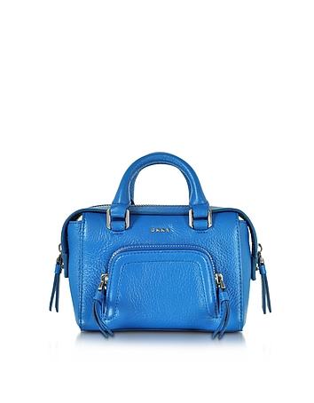 DKNY - Chelsea Vintage Style Cerulean Leather Mini Satchel Bag