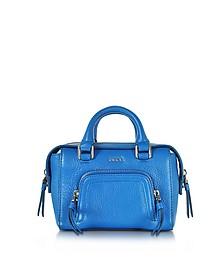 Chelsea Vintage Style Cerulean Leather Mini Satchel Bag - DKNY
