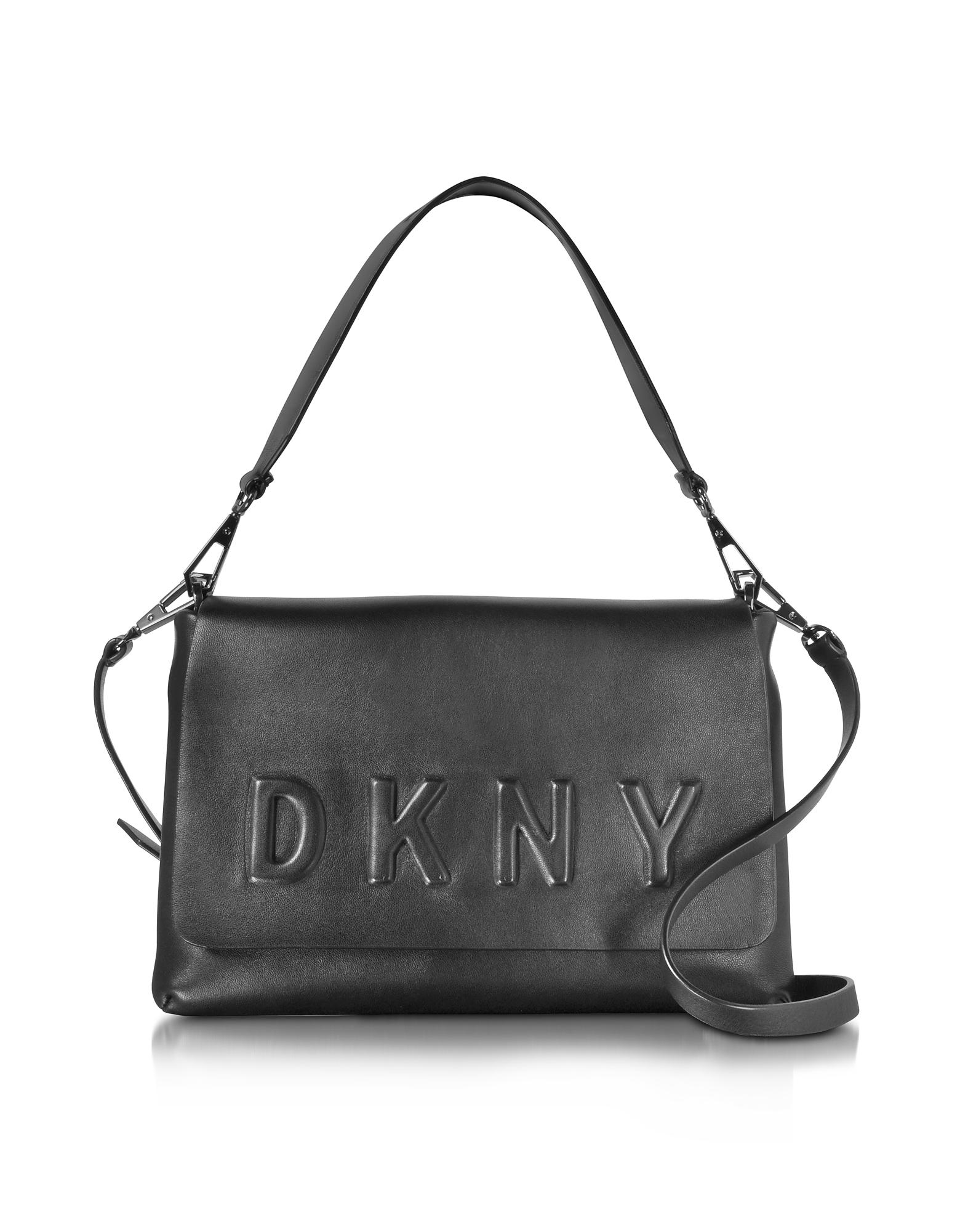 DKNY Черная Кожаная Сумка на Плечо с Тиснением Логотипа и Клапаном
