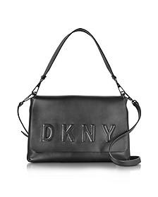 Debossed Logo Black/Black Leather Flap Shoulder Bag - DKNY