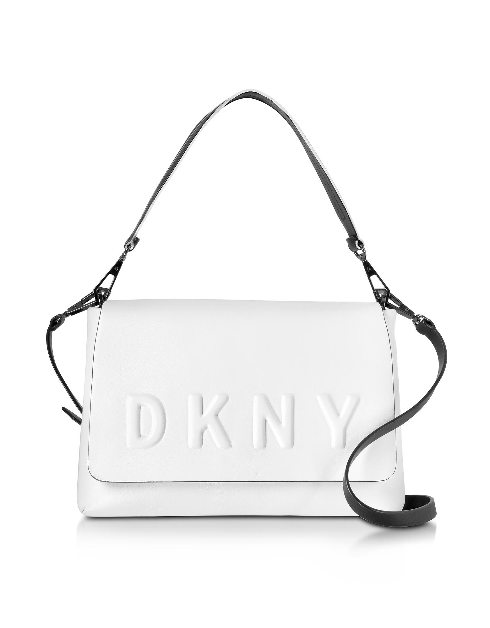 DKNY Кремовая/Черная Кожаная Сумка на Плечо с Клапаном и Тисненым Логотипом