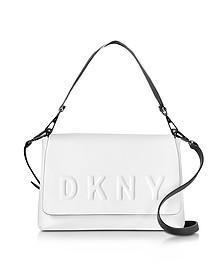 Debossed Logo Cream/Black Leather Flap Shoulder Bag - DKNY