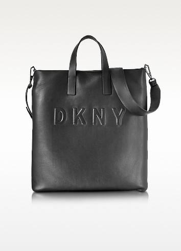 Debossed Logo Black/Black Leather Tote - DKNY