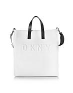 DKNY Debossed Logo Umhängetasche aus Leder in creme/schwarz