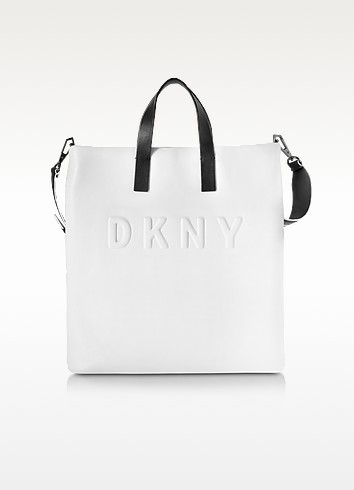 Debossed Logo Cream/Black Leather Tote - DKNY