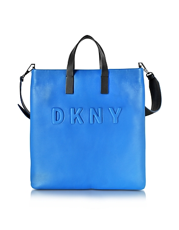 Debossed Logo Cerulean/Black Leather Tote