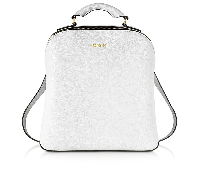 White Fine Pebble Leather Mini Backpack - DKNY