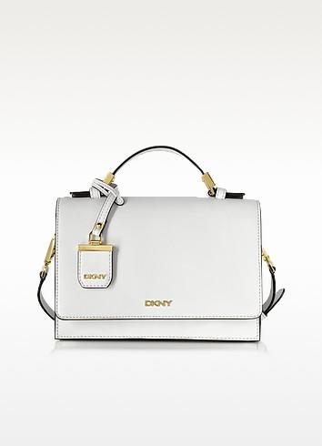White Saffiano Leather Flap Crossbody Bag - DKNY