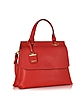 Vermillion Red Leather Small Double Gusset Top Handle Bag - DKNY