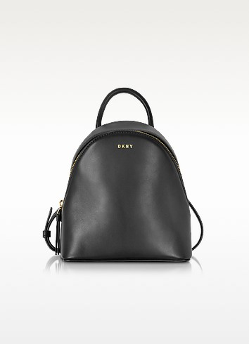 Greenwich Black Smooth Leather Small Backpack - DKNY
