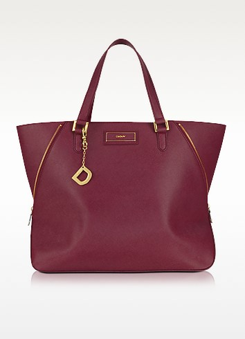Large Saffiano Leather Zip Tote - DKNY