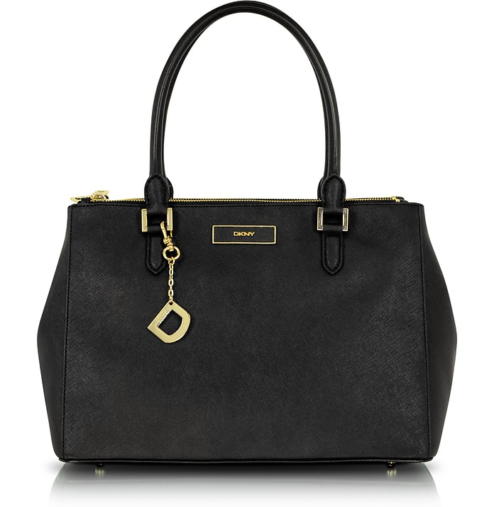 Saffiano Leather Double Zip Tote - DKNY
