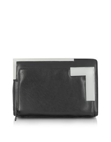 DKNY Runway - Clutch aus schwarzem Nappaleder