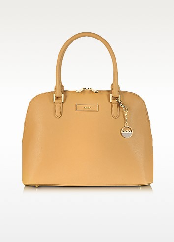 Large Saffiano Leather Bowler Bag - DKNY