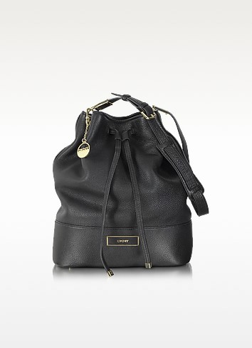 Black Leather Bucket Bag - DKNY