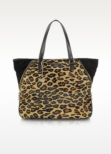 Leopard Print Large Zip Tote - DKNY
