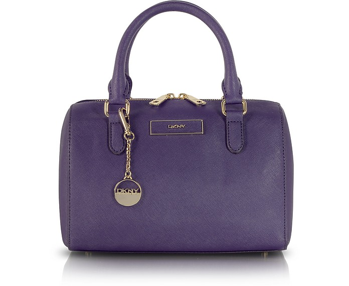 Small Purple Saffiano Leather Satchel - DKNY