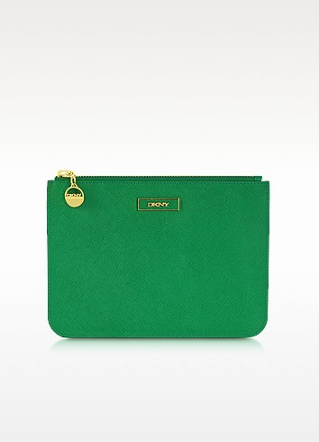 Saffiano Leather Flat Zip Pouch - DKNY
