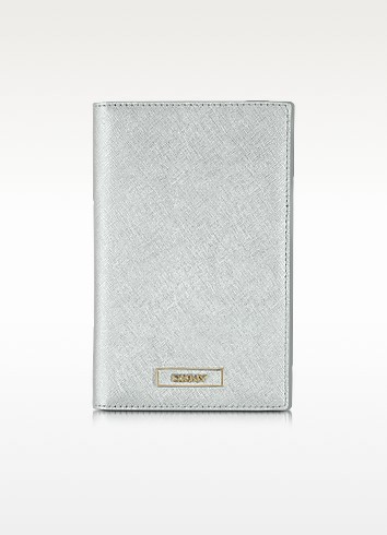 Silver Saffiano Leather Wallet/Passport Holder - DKNY
